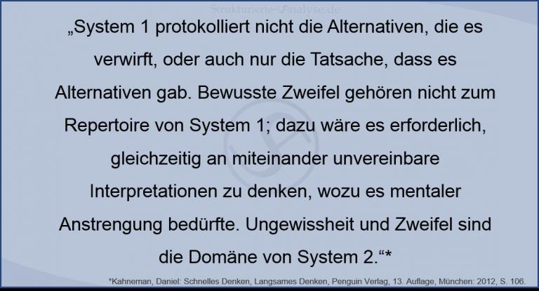 Daniel Kahneman_System1_Zweifel_Alternativen