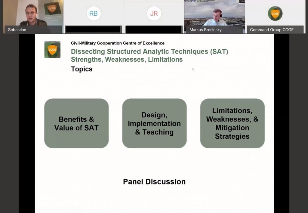 Dissecting SATs – Strengths, Weaknesses, Limitations – hosted by  NATO Civil-Military Cooperation Centre of Excellence (CCOE)